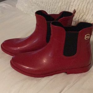 Michael Kors brand red rubber boots